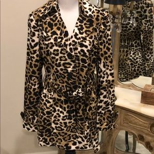 Leopard Print Trench Jacket- LIKE NEW